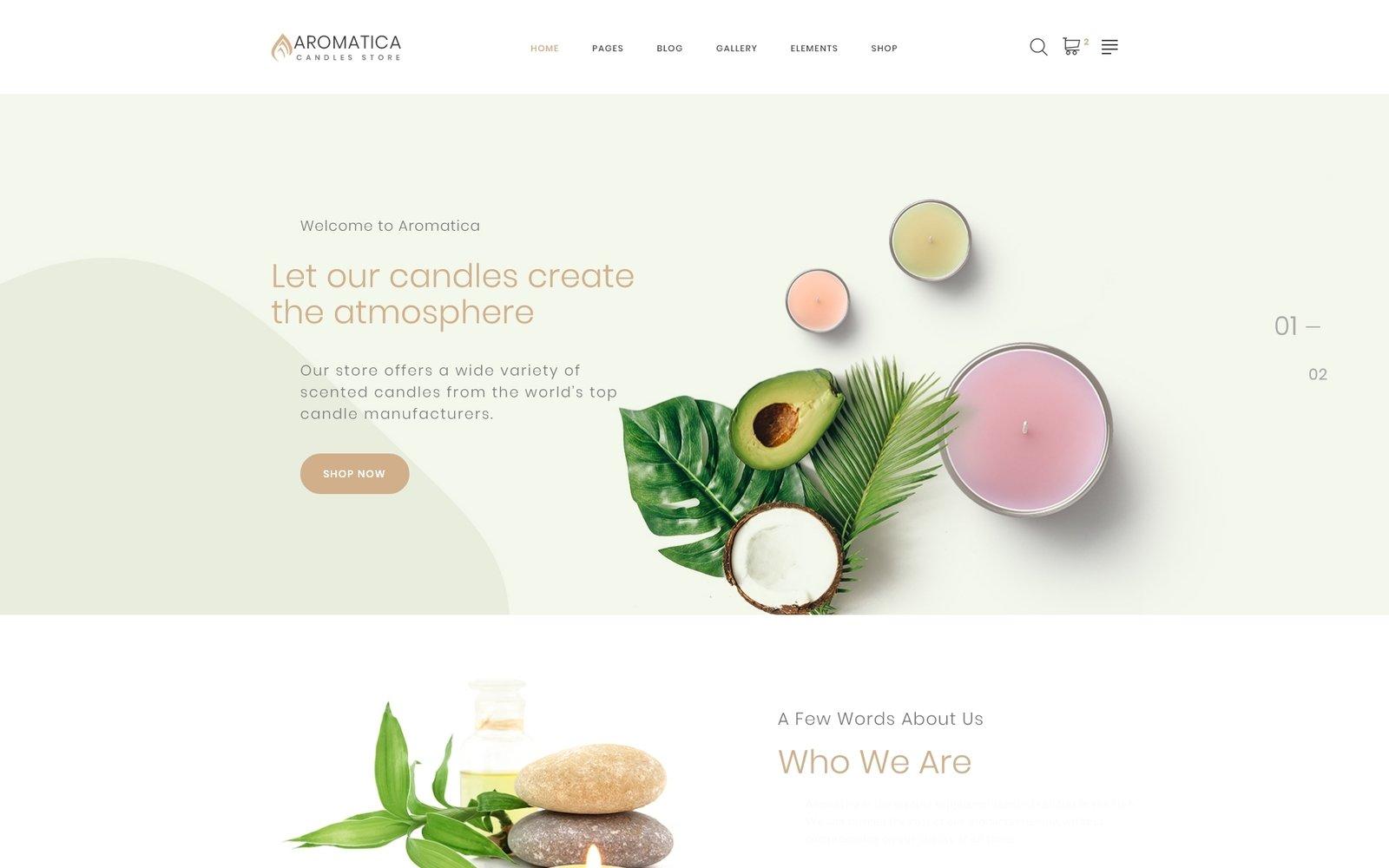 """Modello Siti Web Responsive #87314 """"Aromatica - Candles Store Multipage HTML"""""""