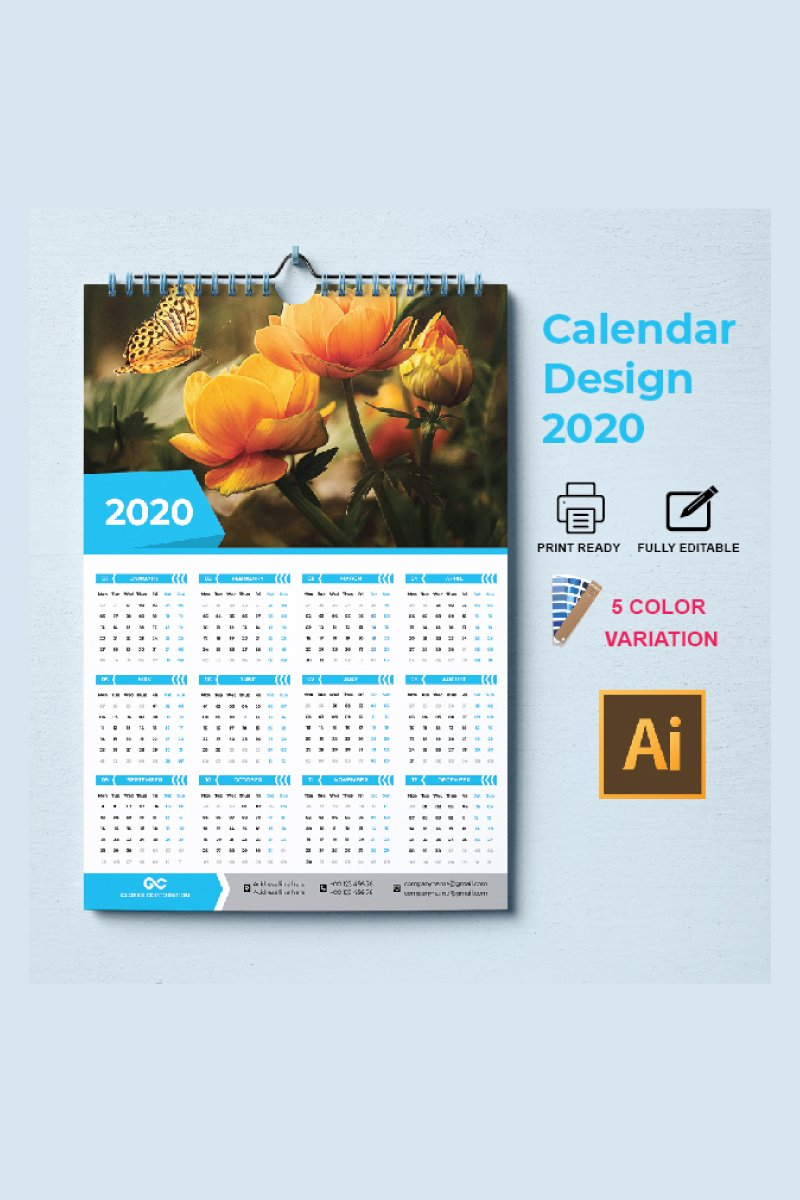 one page calendar 2020 Corporate Identity Template
