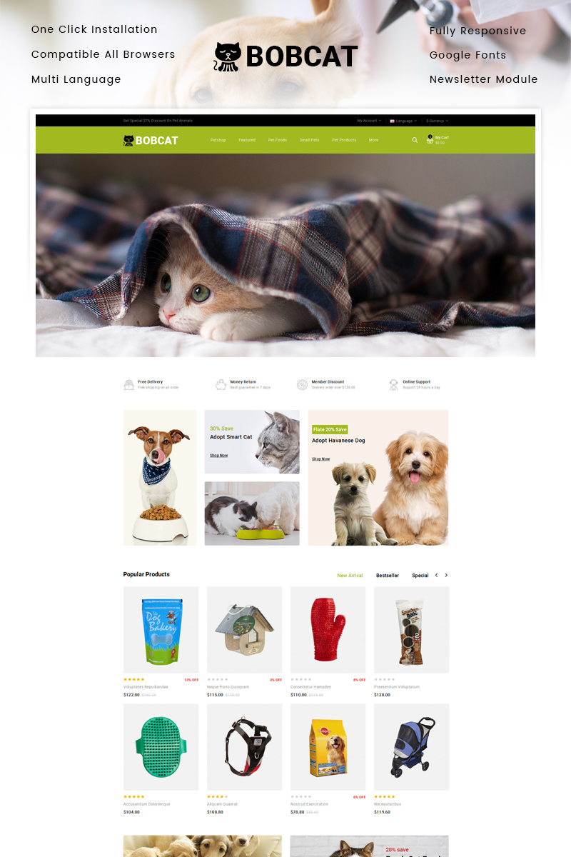 "OpenCart Vorlage namens ""Bobcat - Pets & Animals Store"" #87339"