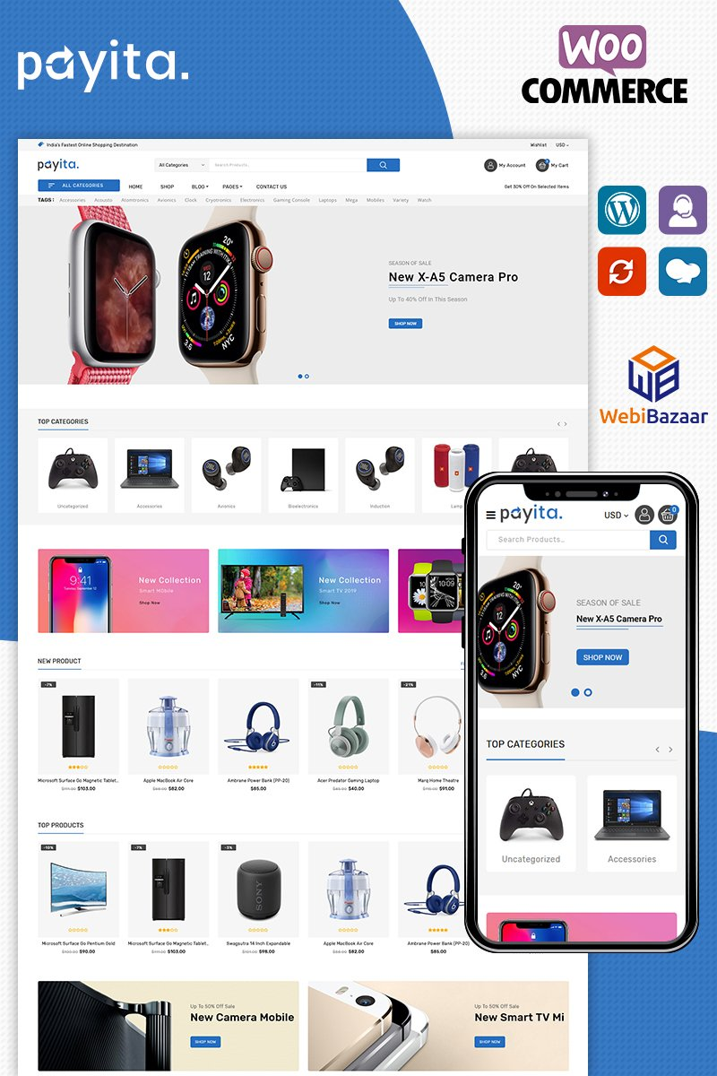 """Payita Electronic"" thème WooCommerce adaptatif #87340 - screenshot"