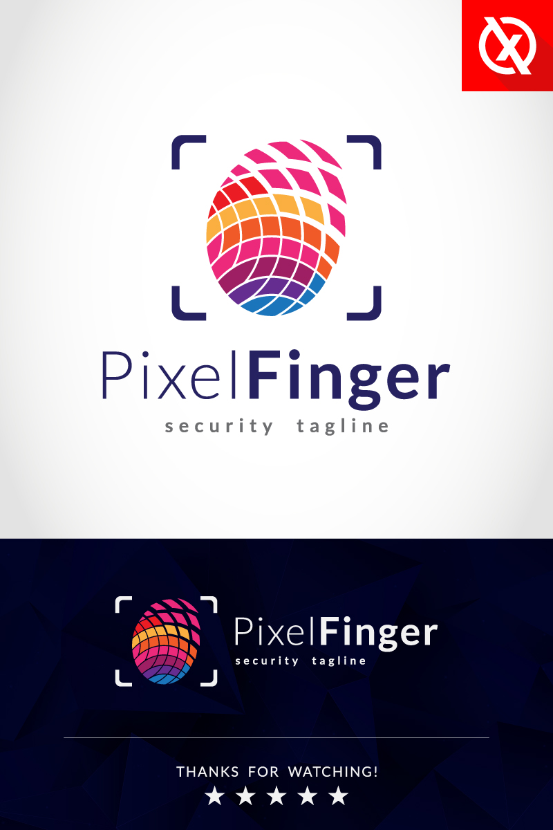 Pixel Fingerprint Security Template de Logotipo №87352