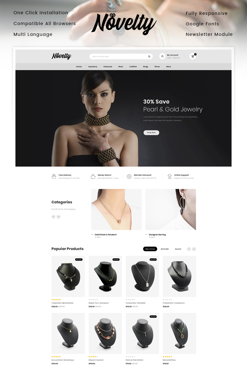 "Plantilla OpenCart ""Novelty - Jewelry Store"" #87338"