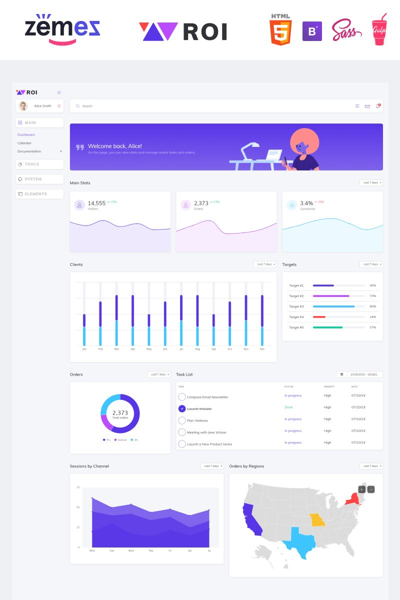 "Plantilla Para Panel De Control ""ROI - Multipurpose Creative Dashboard"" #87337"
