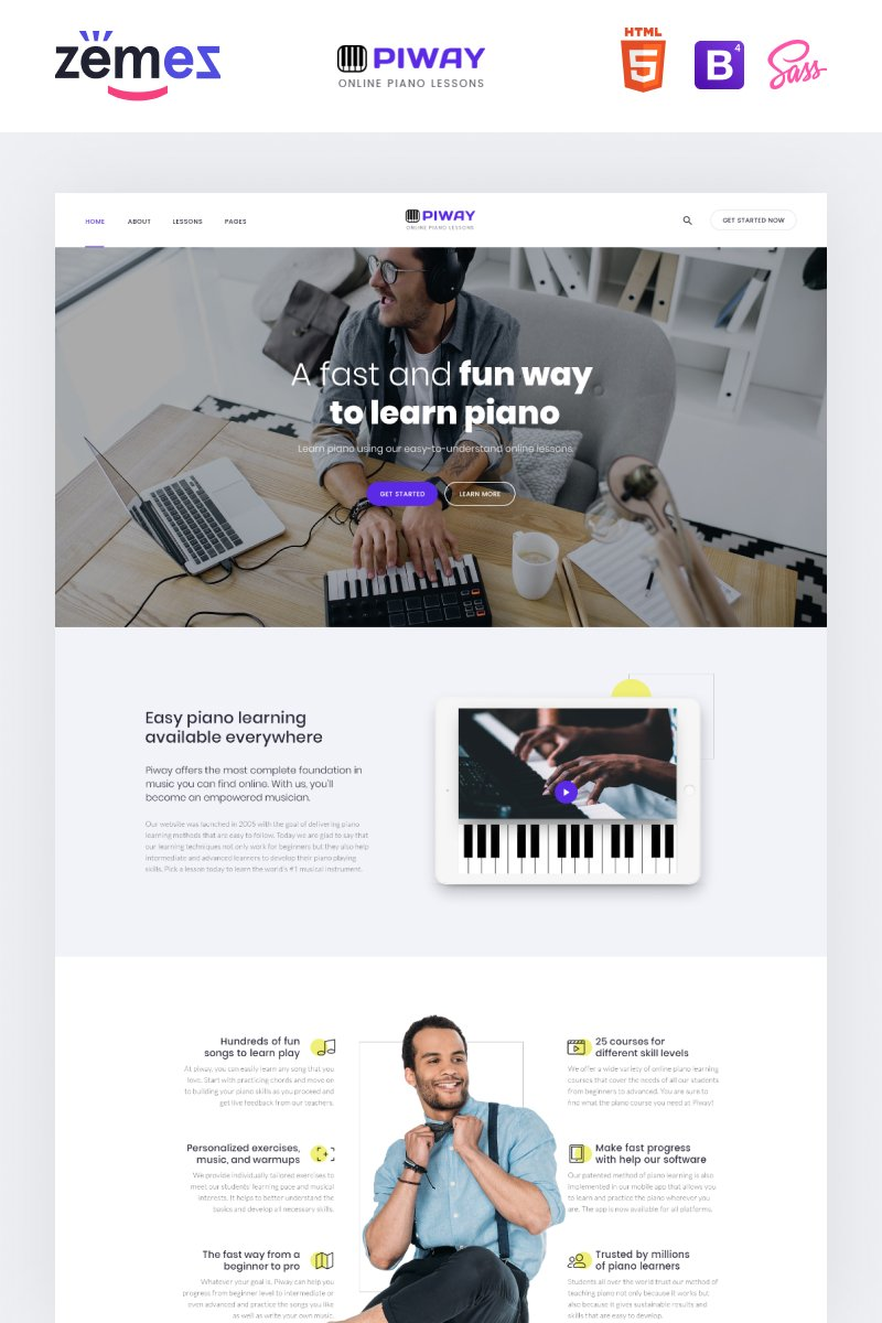 "Plantilla Web ""PIWAY - Music School Multipage Clean HTML"" #87333"