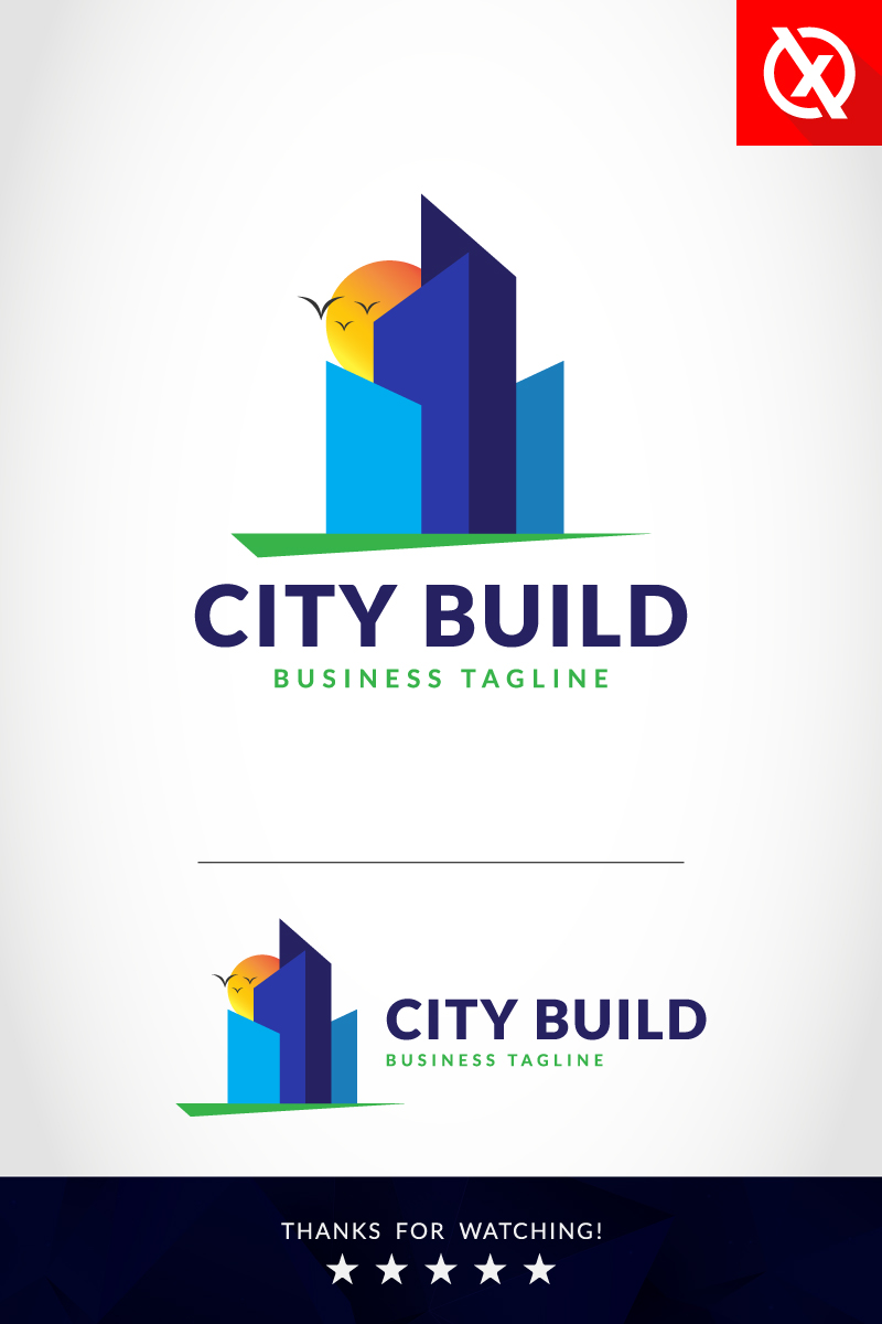 Premium City Build Unika logotyp mall #87357