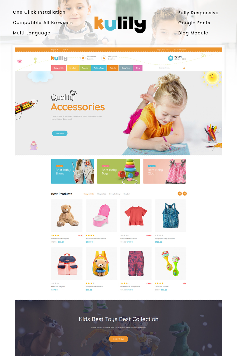 "PrestaShop Theme namens ""Kulily - Kids Store"" #87344"