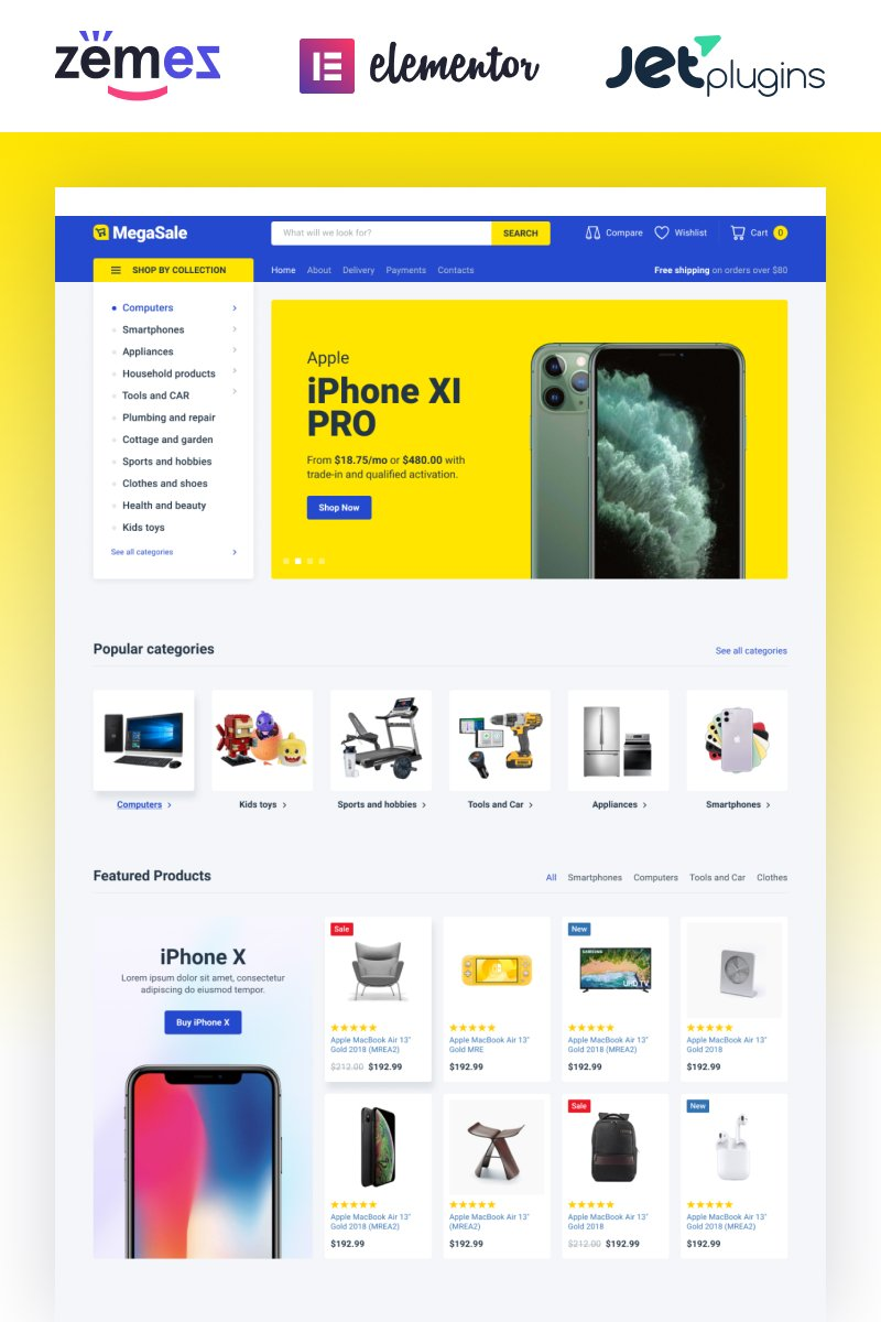 Responsivt TechnoSale - Modern Online ECommerce Grocery Store WooCommerce-tema #87318