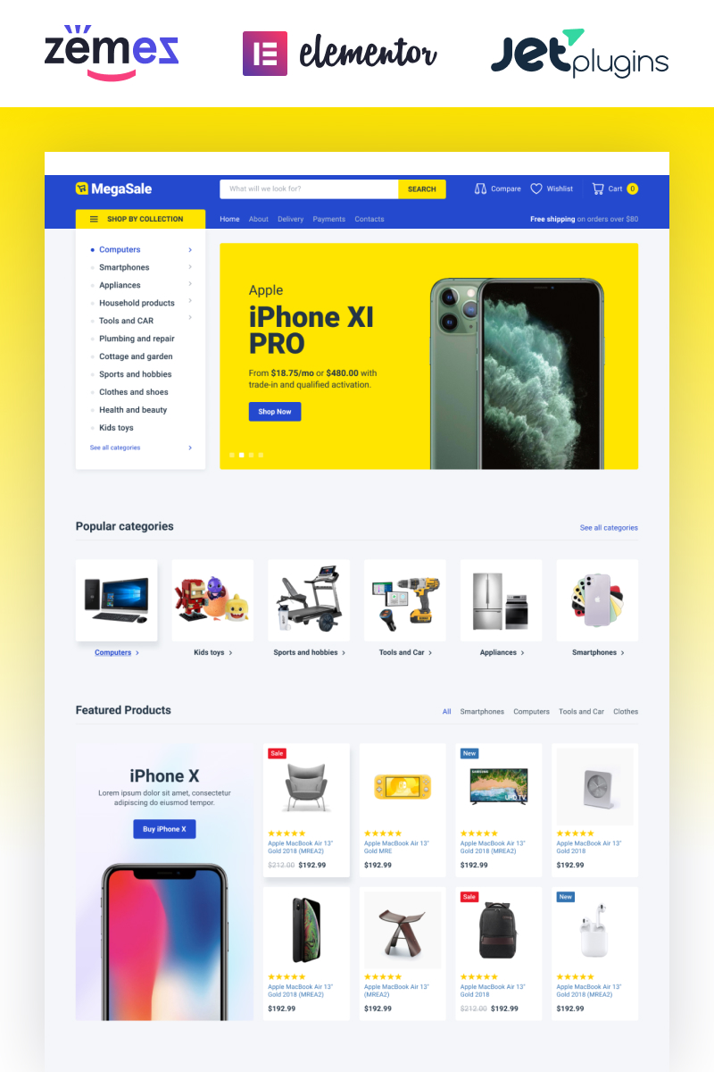 Responsywny motyw WooCommerce TechnoSale - Modern Online ECommerce Grocery Store #87318