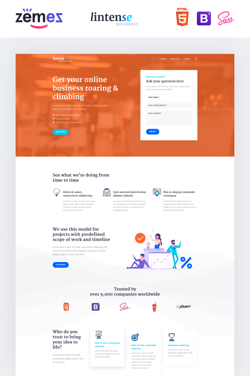 Responsywny szablon Landing Page Lintense SEO Agency - Marketing Agency Creative HTML #87335