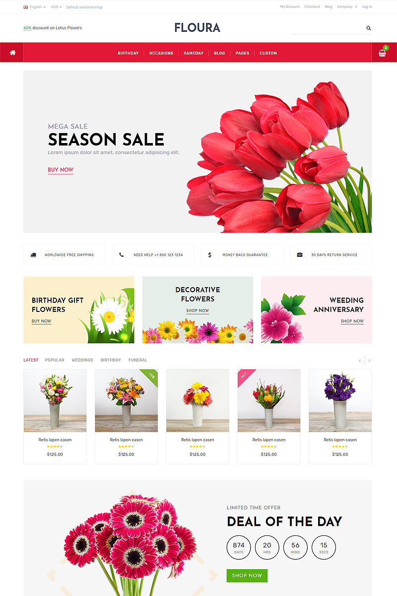 """Responzivní Šablona webových stránek """"Floura - Flower and Gift Store"""" #87332"""