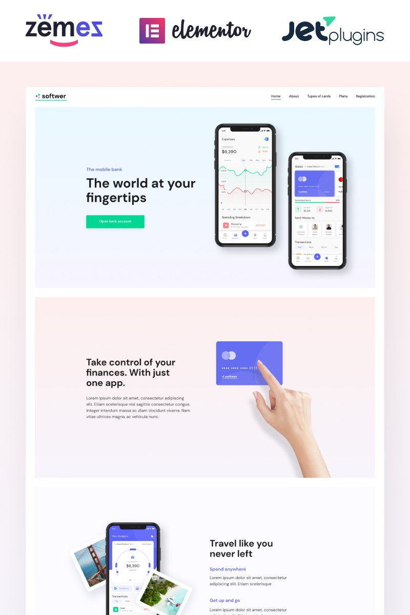 Reszponzív Softwer - Mobile App Development Company Website Template WordPress sablon 87317