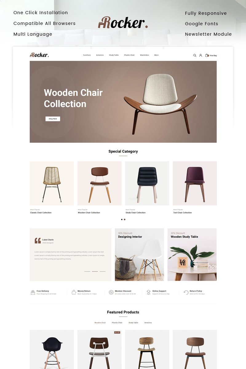 """Rocker - Furniture Store"" Responsive OpenCart Template №87345"