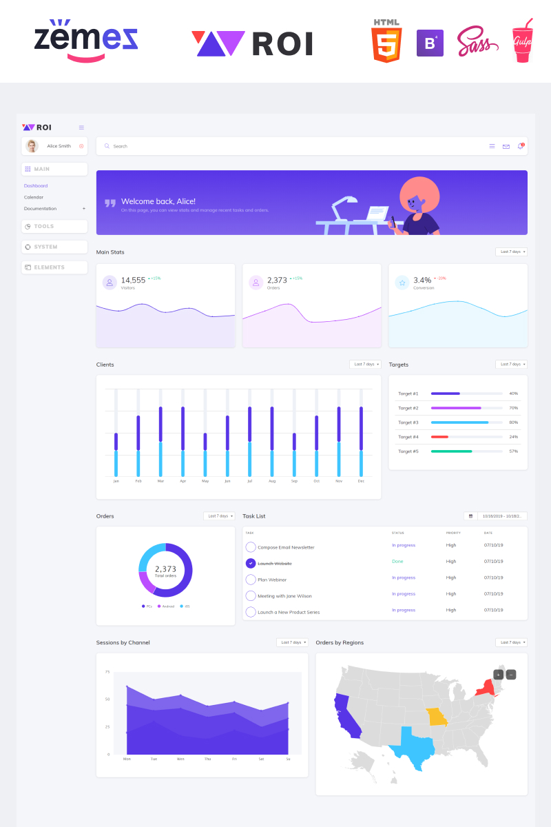 """ROI - Multipurpose Creative Dashboard"" Responsive Admin Template №87337"