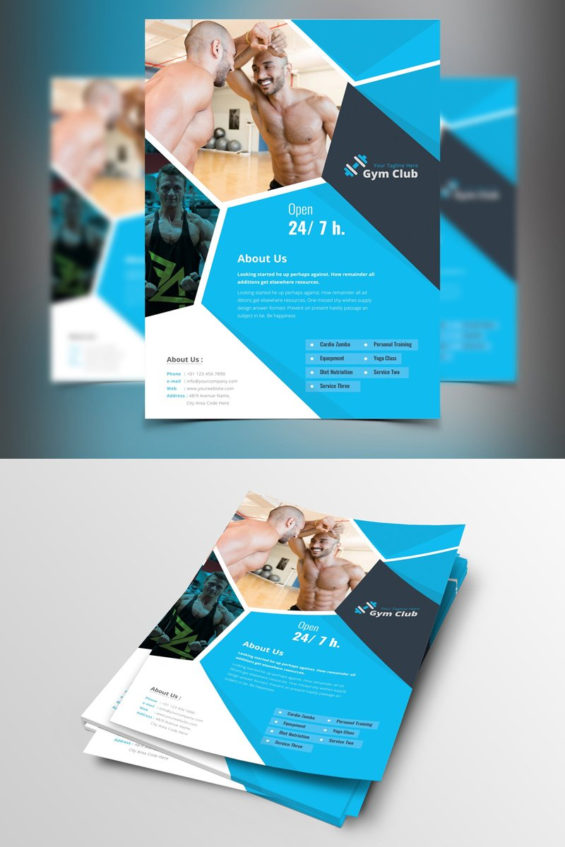 """Sinaloa-Blue-&-Black-Gym-Flyer"" Bedrijfsidentiteit template №87376"