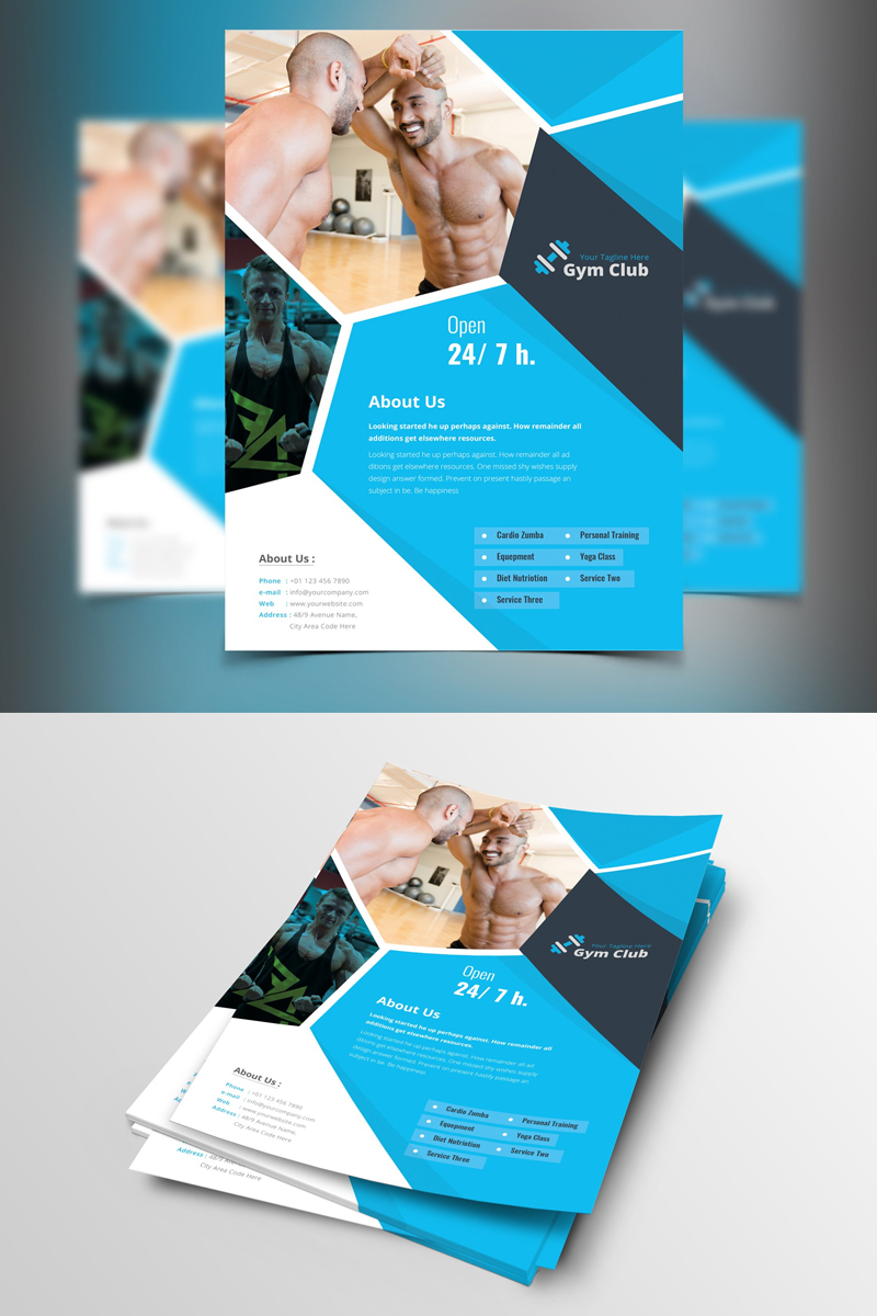 """Sinaloa-Blue-&-Black-Gym-Flyer"" design d'Entreprise  #87376"
