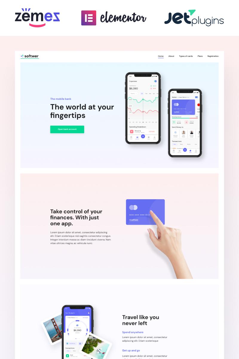 """Softwer - Mobile App Development Company Website Template"" - адаптивний WordPress шаблон №87317"