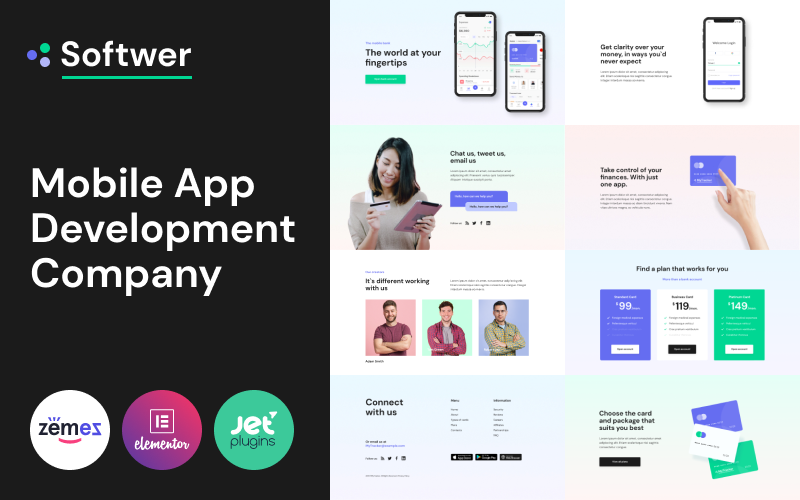 """Softwer - Mobile App Development Company Website Template"" Responsive WordPress thema №87317"