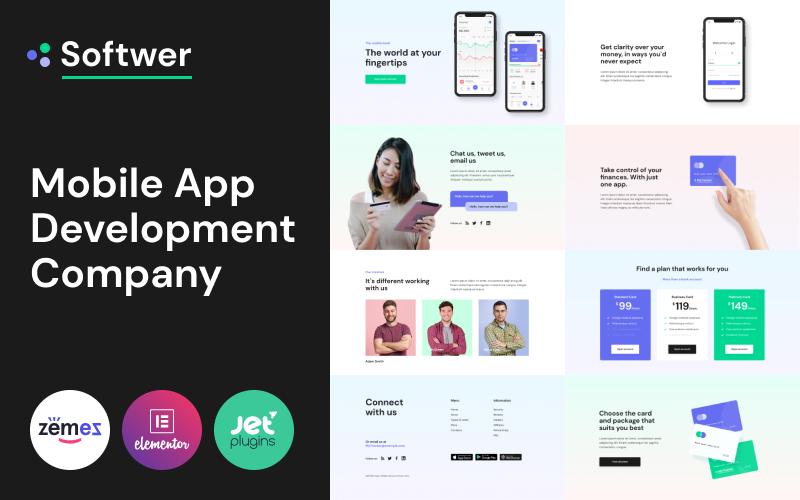 """Softwer - Mobile App Development Company Website Template"" thème WordPress adaptatif #87317"