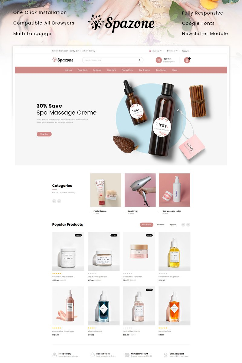 """Spazone - Massage Parlour"" Responsive OpenCart Template №87328"