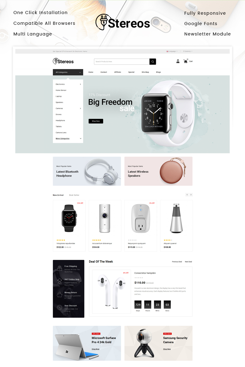 """Stereos - Electronics Store"" Responsive OpenCart Template №87343"