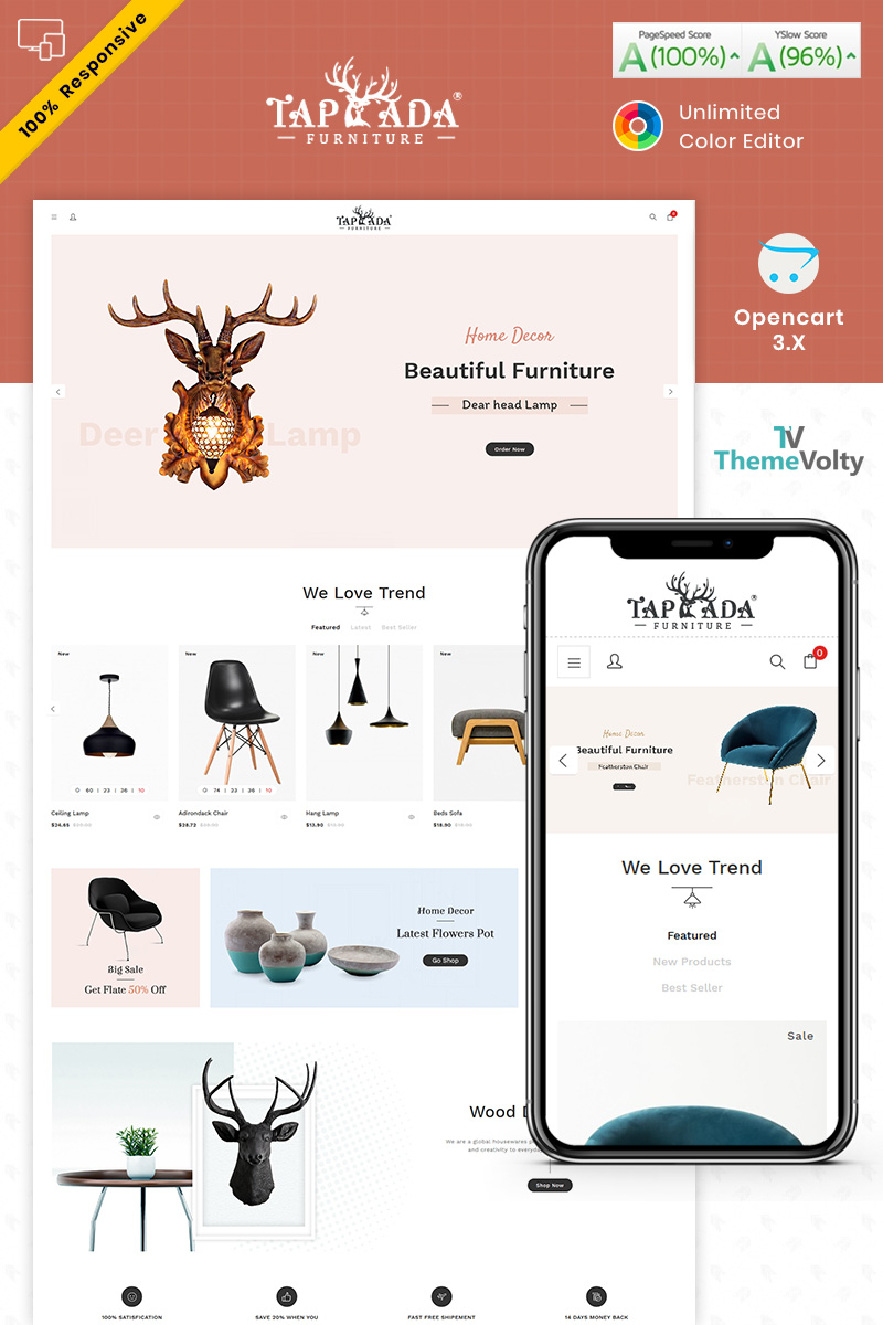 """Tapada Furniture"" Responsive OpenCart Template №87346"
