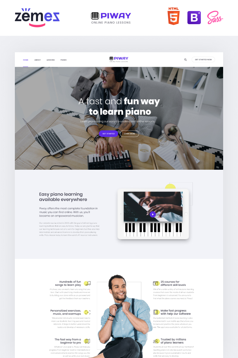 "Tema Siti Web Responsive #87333 ""PIWAY - Music School Multipage Clean HTML"""