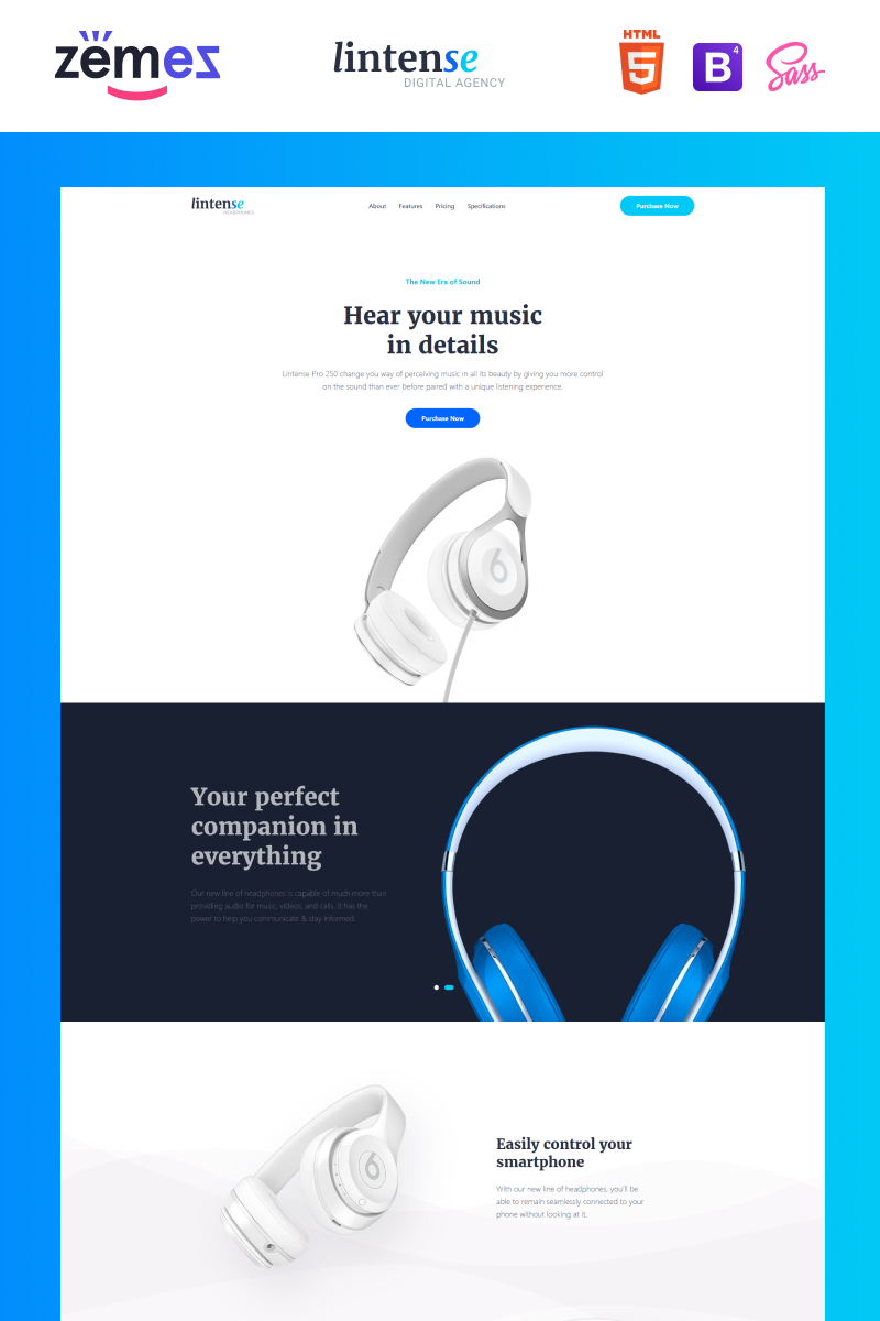 "Template di Landing Page Responsive #87322 ""Lintense Headphones - Electronics Store Clean HTML"""