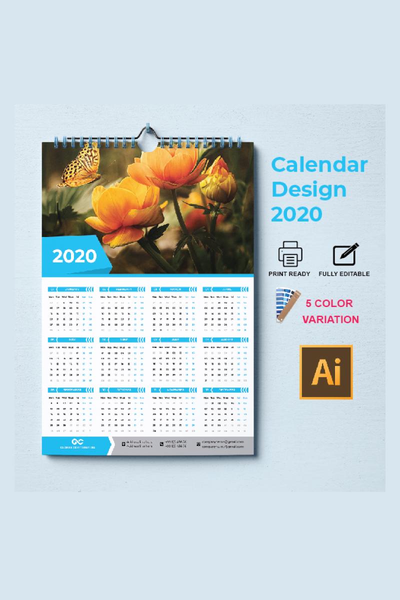 """Unternehmensidentität Vorlage namens """"one page calendar 2020"""" #87302"""
