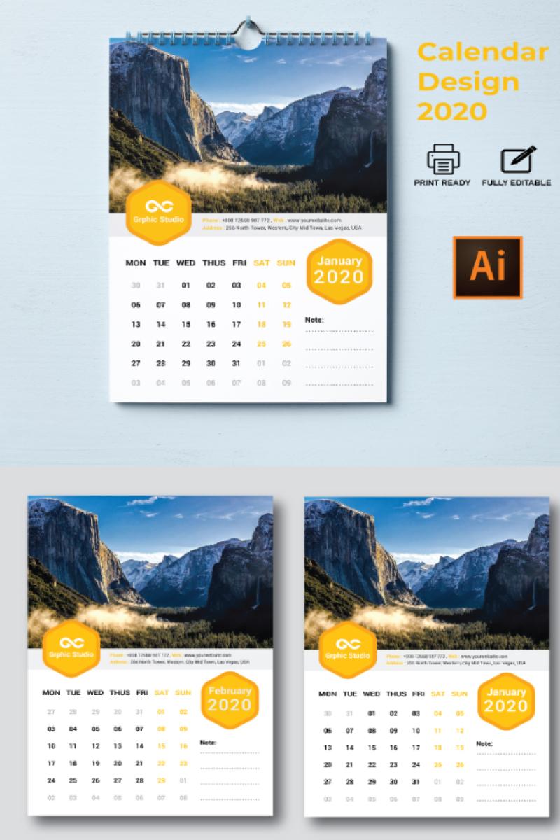 """""""Wall Calendar 2020"""" design d'Entreprise  #87301"""