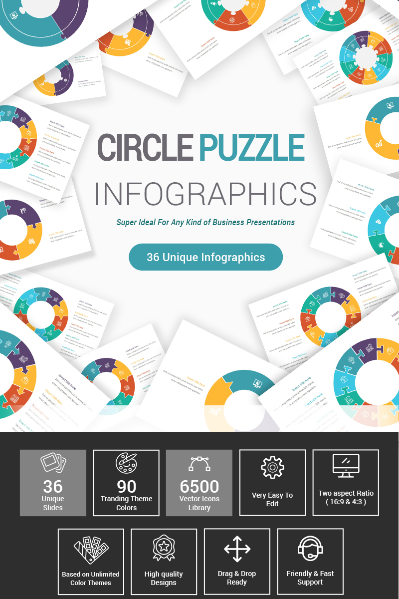 Circle Puzzle Infographics Diagrams Template PowerPoint №87406