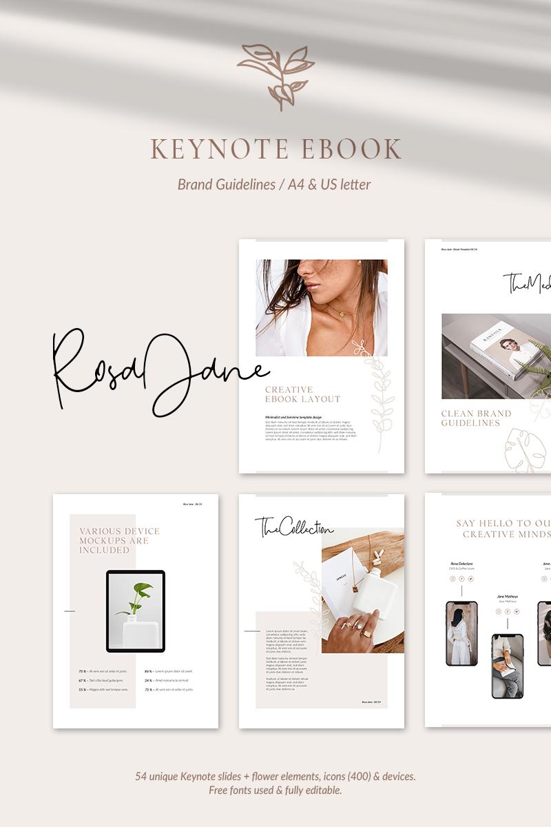 """""""eBook Brand Guidelines – Rosa Jane"""" Keynote模板 #87435"""
