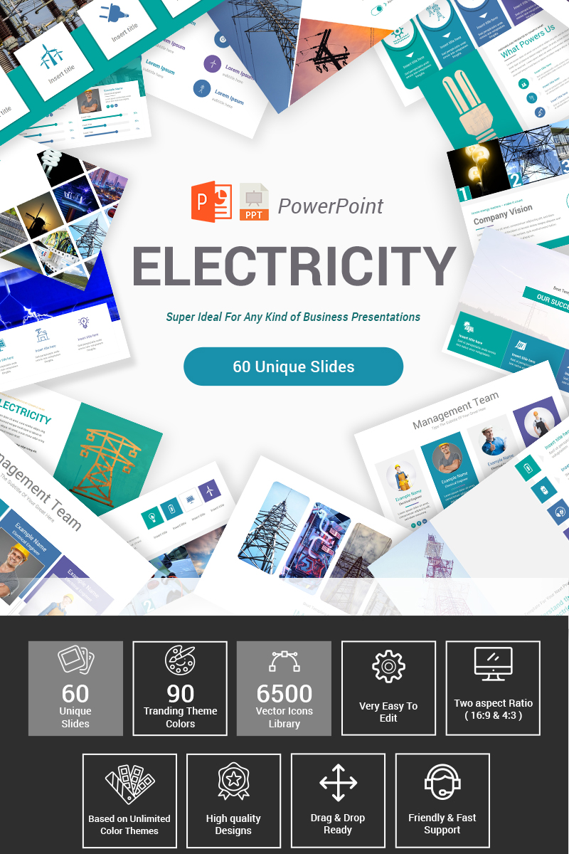 """Electricity"" Premium PowerPoint Template №87407"
