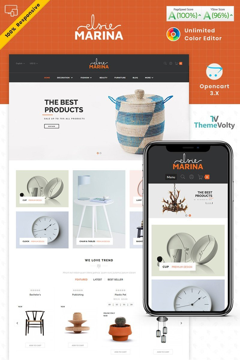 """Elsie Marina Home Decor Furniture"" Responsive OpenCart Template №87489"