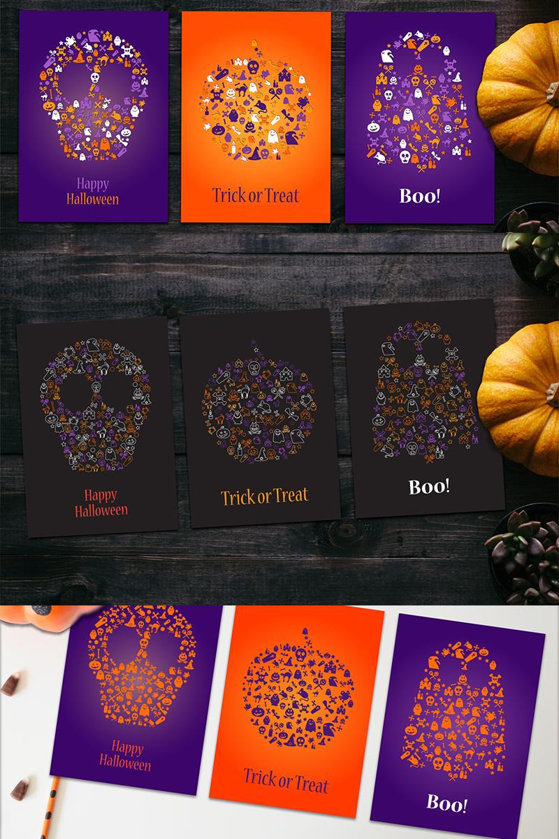 Happy Halloween Silhouette Banners Set Ilustração №87443
