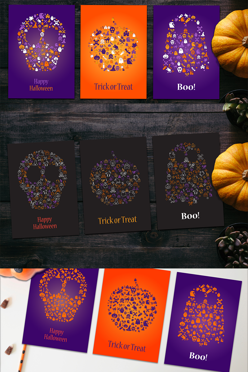 Ilustracja Happy Halloween Silhouette Banners Set #87443