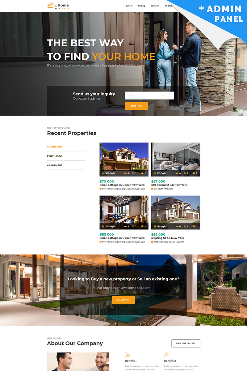 "Landing Page Template namens ""Home for Sale"" #87487"