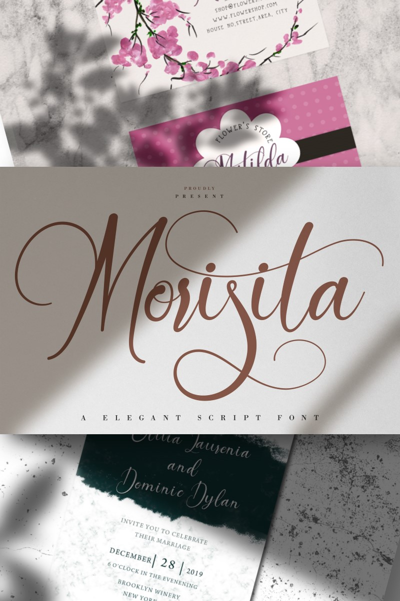 """Morisita | Elegant Script"" police de caractère  #87455"