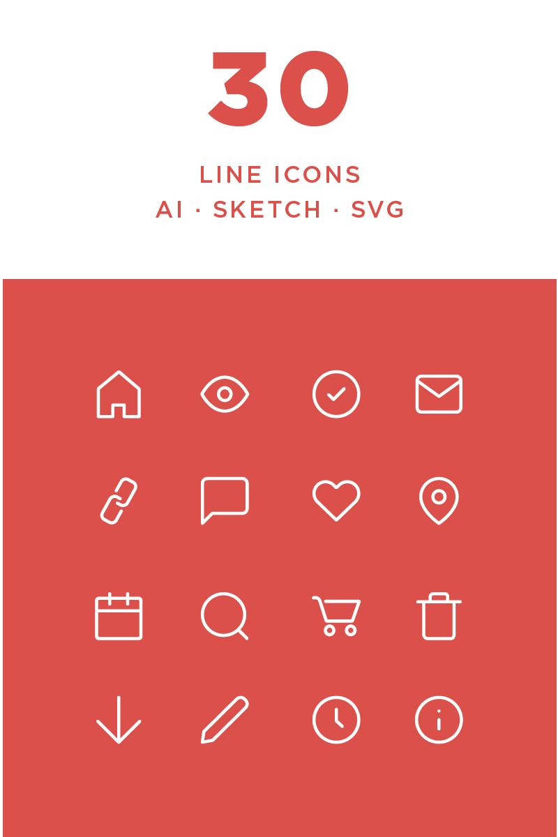 """Plantilla De Conjunto De Iconos """"Simple Line"""" #87440"""