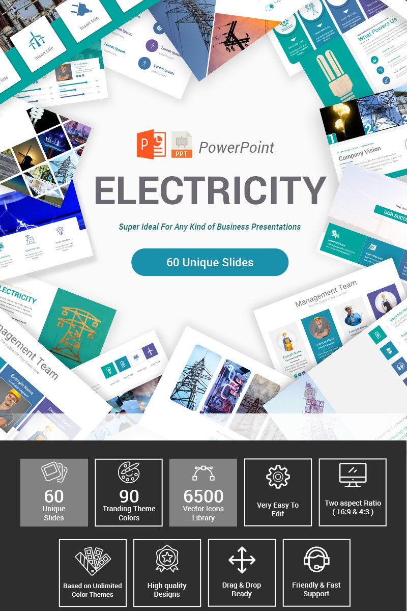 "Plantilla PowerPoint ""Electricity"" #87407"