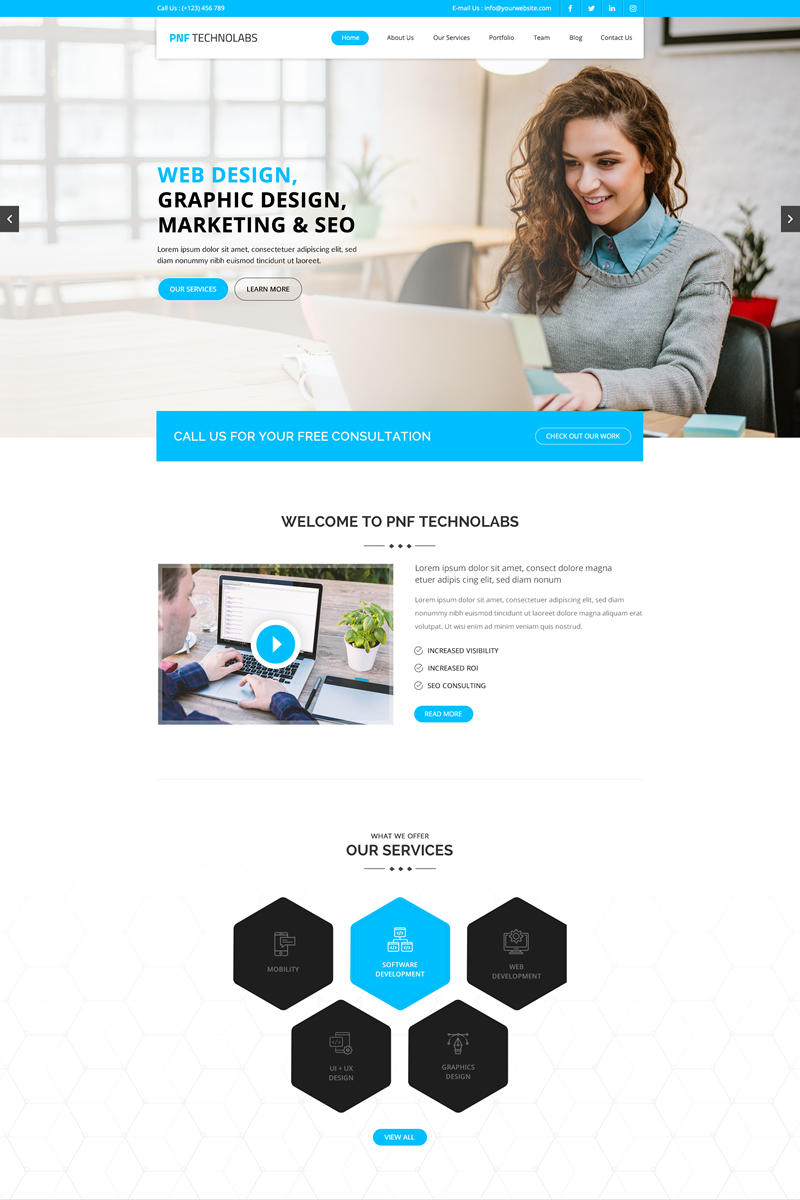 """PNFTechnolabs - Technology"" PSD Template №87442"