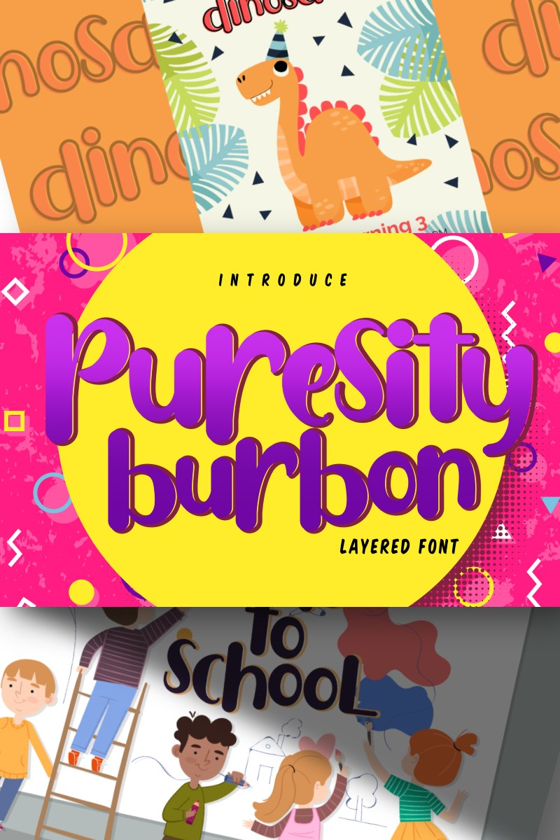Puresity Burbon | Playful Layered Font
