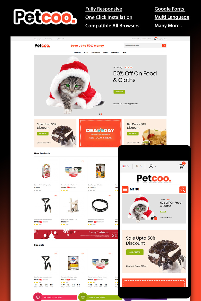 Responsywny szablon OpenCart Petcoo -Pet Store #87446