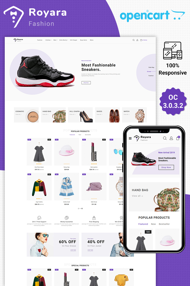 Royara - Fashion Multistore Store Template OpenCart №87488