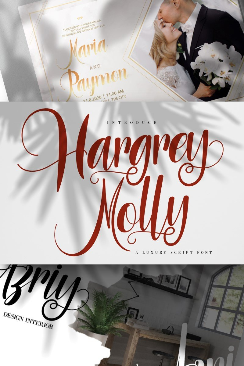 "Schriftart namens ""Hargery Molly | Luxury Script"" #87456"