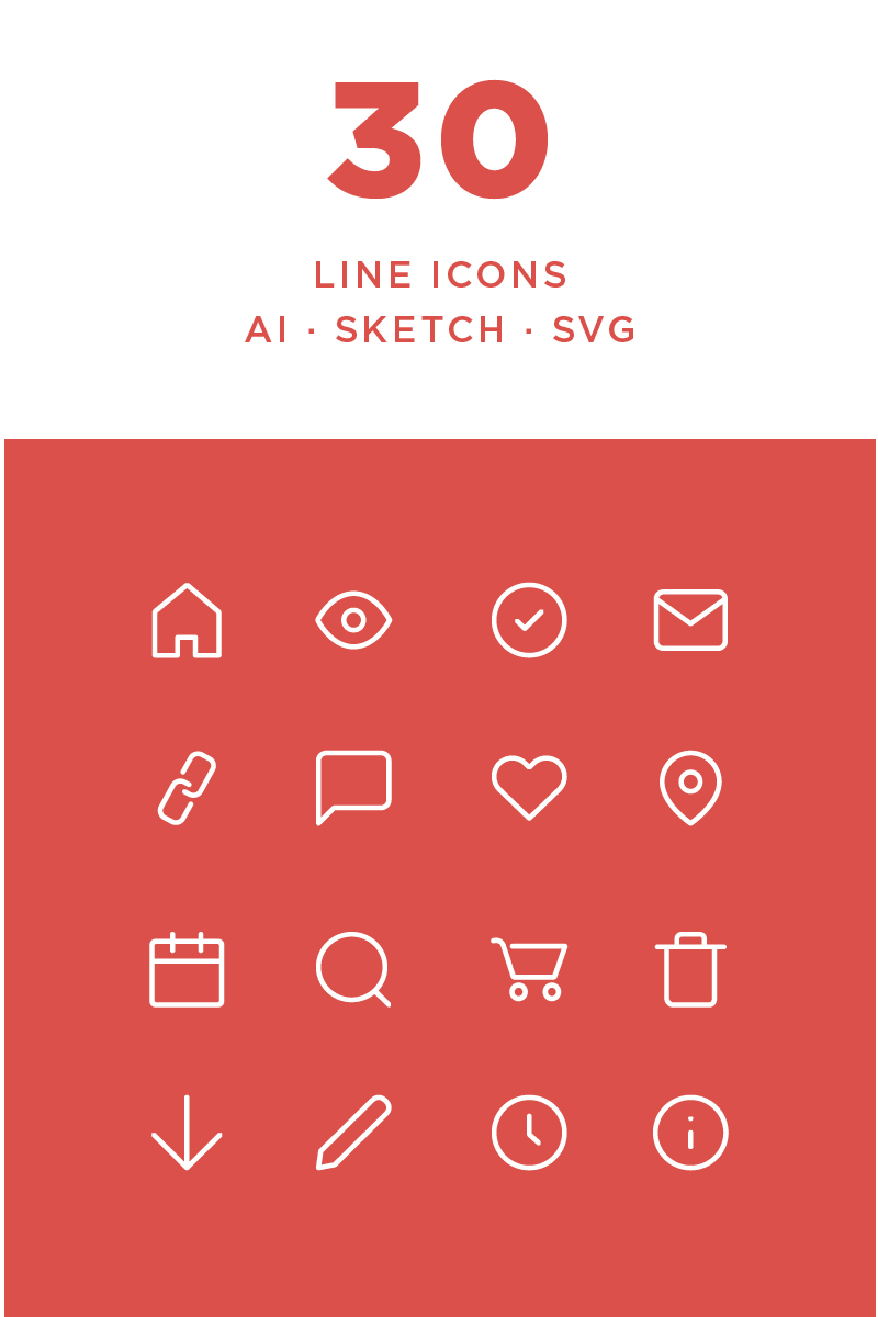 """Simple Line"" Iconset template №87440"