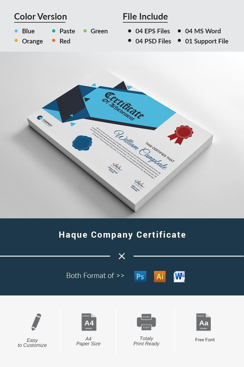 """Tema di certificato #87438 """"Haque Company"""""""
