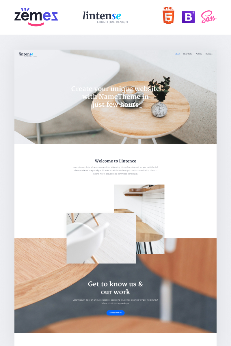 "Tema di Landing Page Responsive #87486 ""Lintense Furniture Design - Interior Clean HTML"""