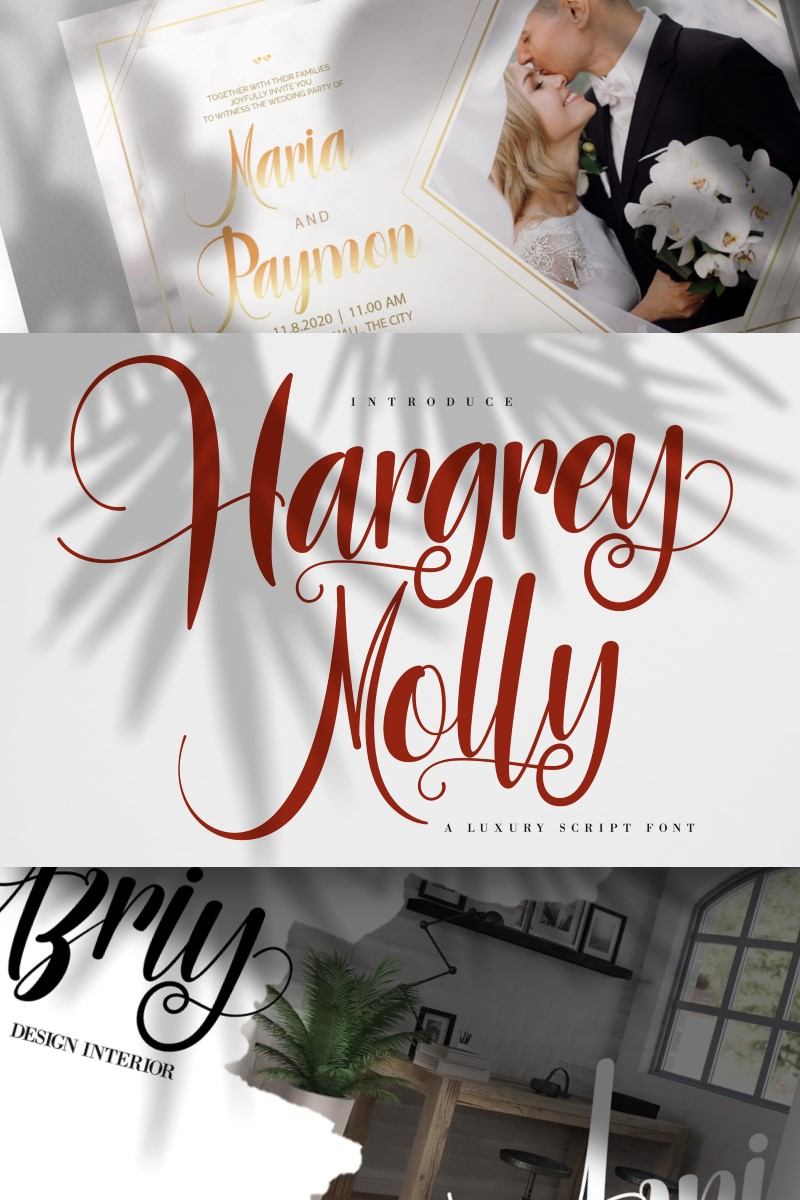 """Tema Font #87456 """"Hargery Molly   Luxury Script"""""""