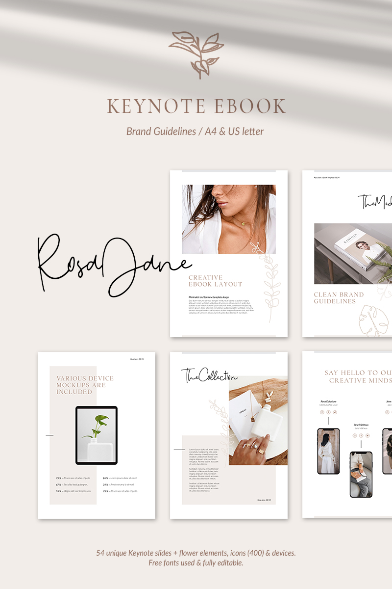 "Tema Keynote #87435 ""eBook Brand Guidelines – Rosa Jane"""