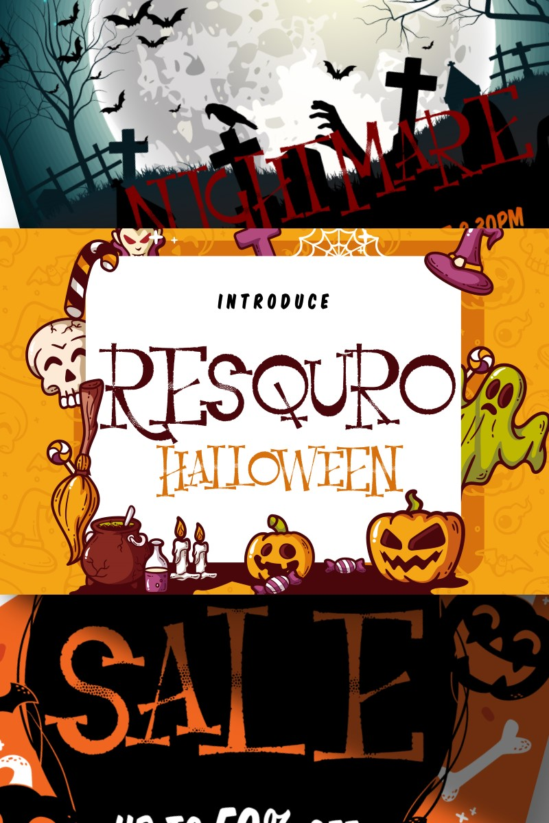 "Template Font #87454 ""Resquro Halloween 